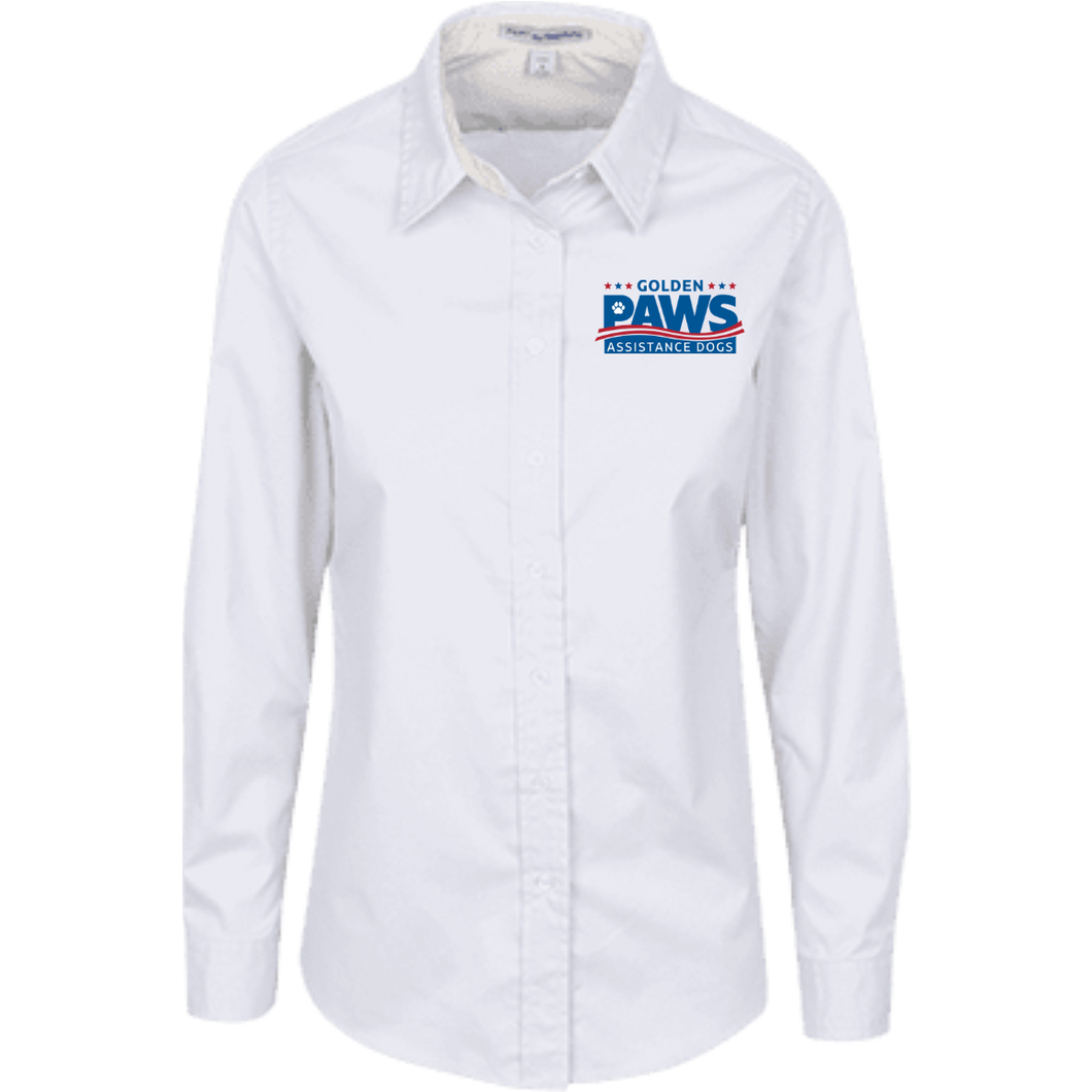 Golden PAWS Embroidered Logo Ladies Button-Down (Light Colors)