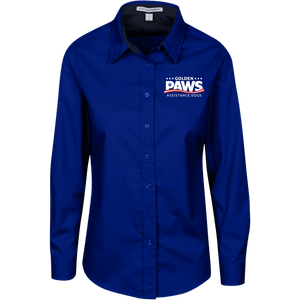 Golden PAWS Embroidered Logo Ladies Button-Down (Dark Colors)