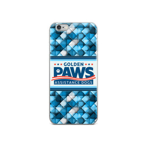 Golden PAWS Blue Geometric iPhone Case