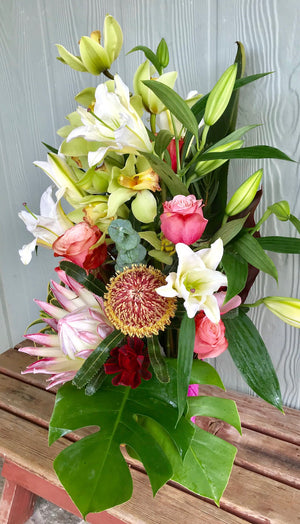 Napili Bay ~ Coming together (Cymbidium Orchid Arrangements ~ ask about live orchid plant options)