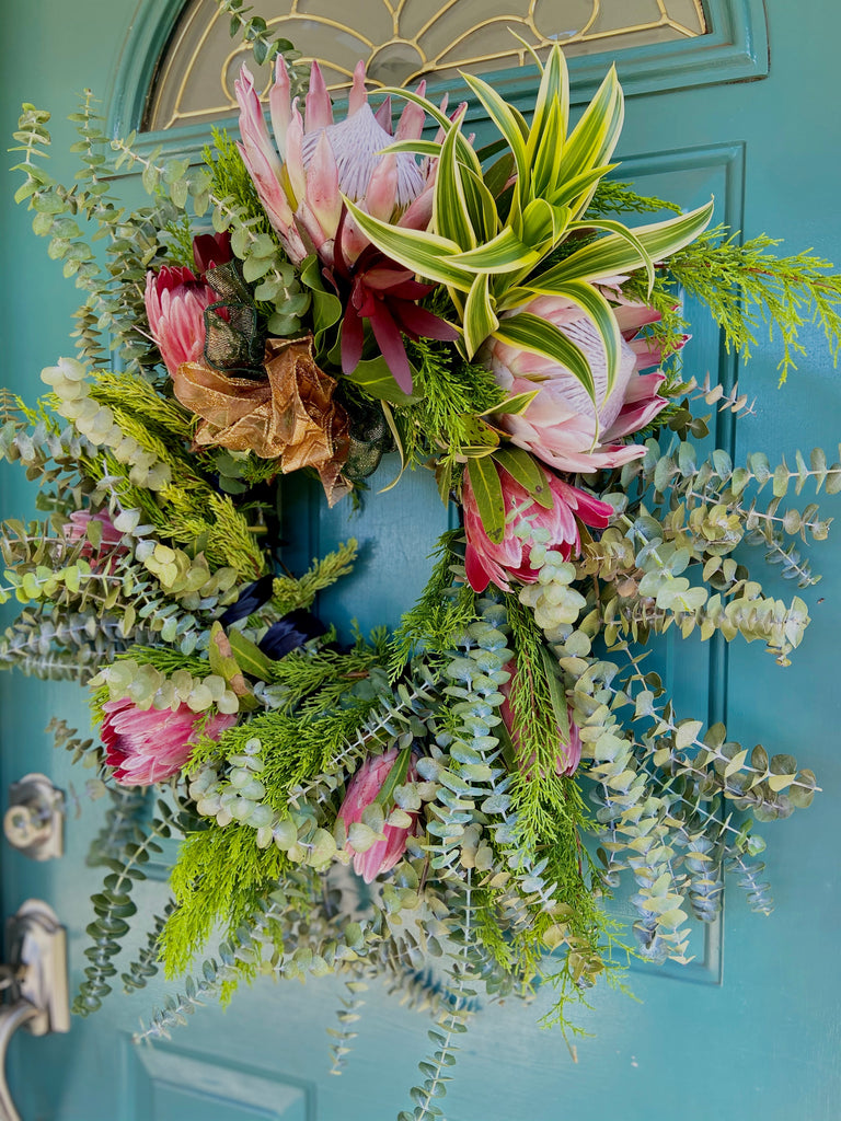Fresh Maui Grown Kula Baby Blue, Pine & Protea Wreath