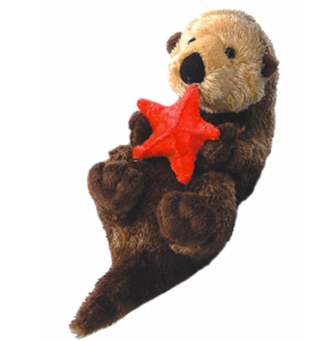 Otto the Stuffed Otter and Red Starfish Friend 8 inches long