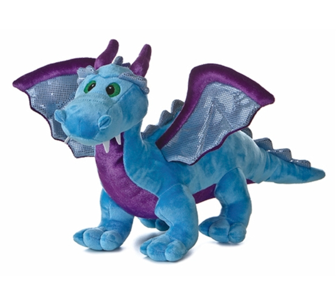 Stuffed Roaring Blue Dragon 14 Inch with Sound!