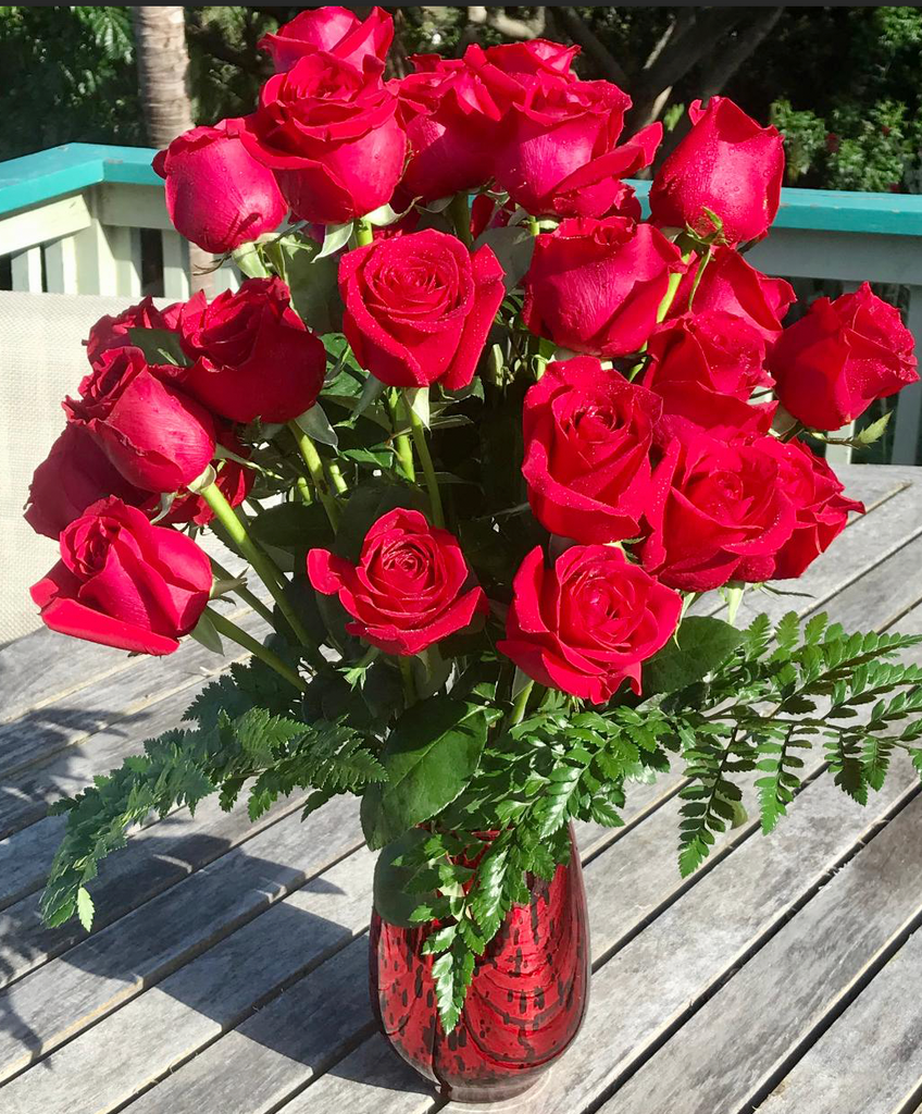 The Big 36 ~ Long Stem Roses in a Red Hand Blown Glass Vase (Choose your rose color)