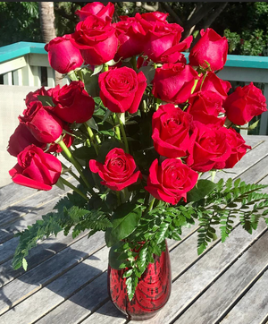 Romance ~ Limited Edition 24 - 36 Roses in a Red Hand Blown Glass Vase