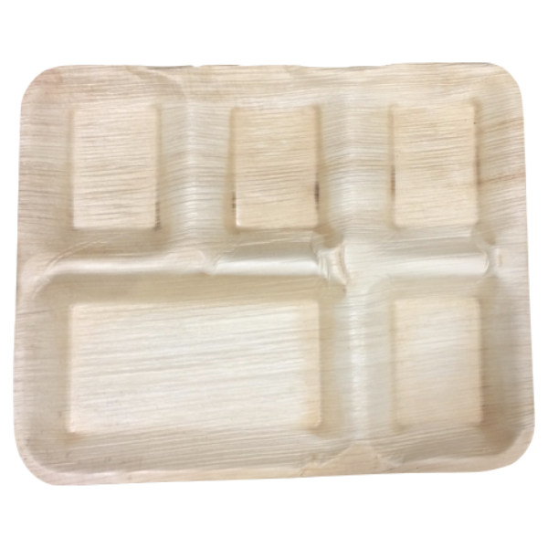 "25 per pack-Compostable Areca Palm Leaf Tableware 10"" x 12.5"" 5 Partition Plate"