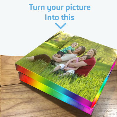 Rainbow colored canvas frame