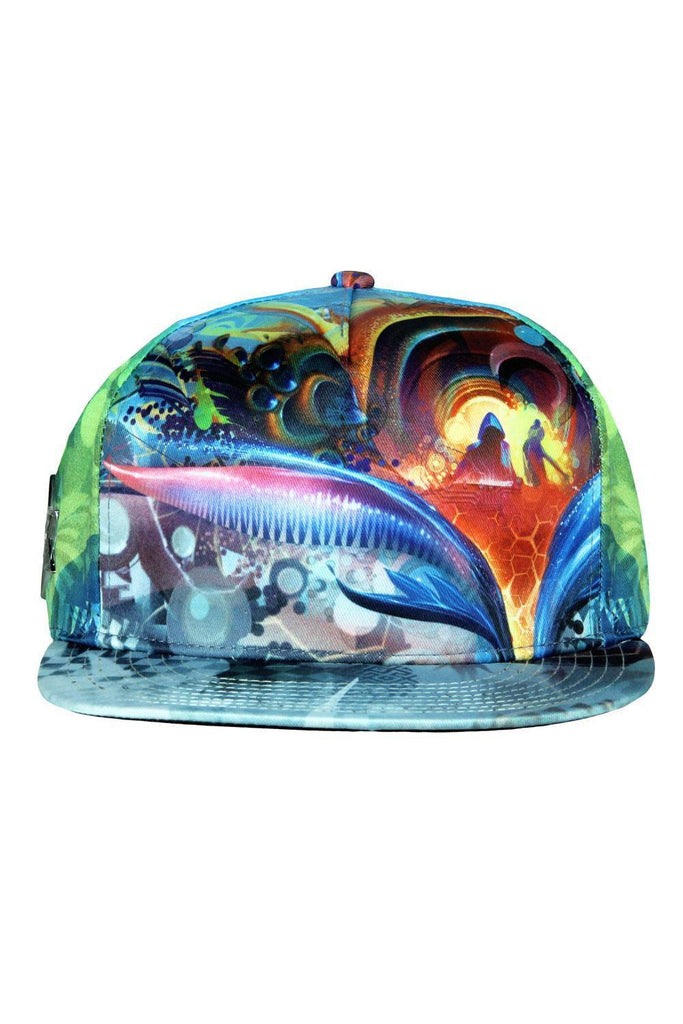 Birds of Paradise Blue Fitted Hat