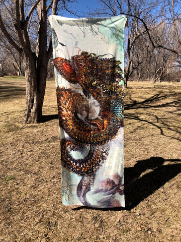 Monarch Dragon cashmere silk scarf