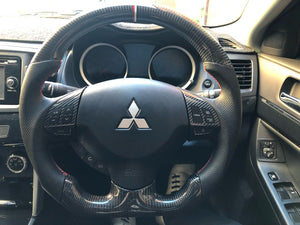 2007-2016 Mitsubishi Lancer Evolution X Carbon Fiber Steering Wheel