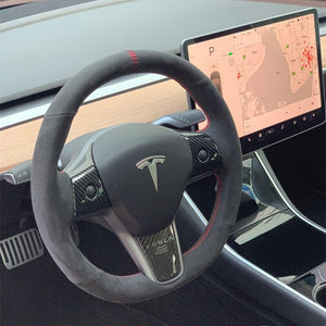 Tesla Model 3 Carbon Fiber Steering Wheel Trim