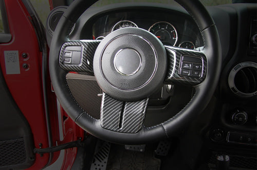 2011-2017 Jeep Wrangler Carbon Fiber Steering Wheel Trim