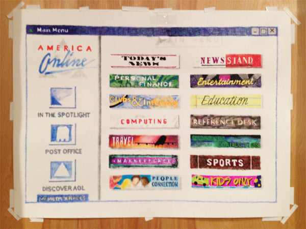 90s AOL Homepage Drawing