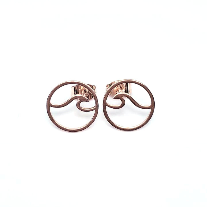 Rose Gold Wave Stud Earrings