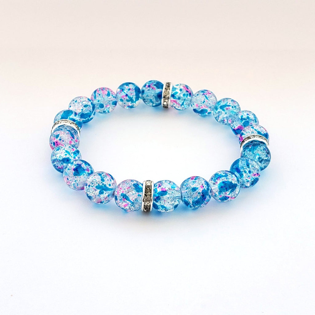 Blue Delphinium Glass Bracelet