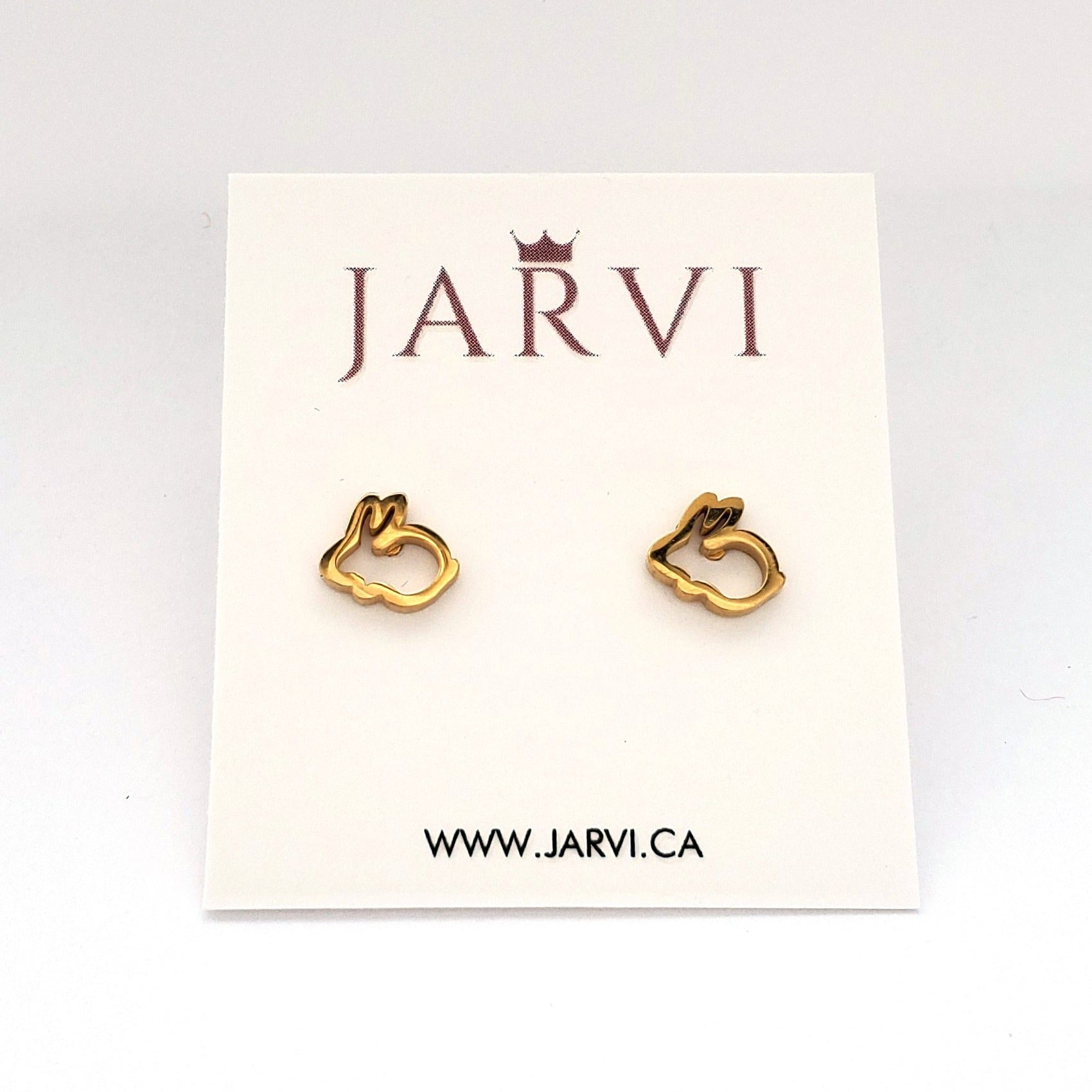 Gold Bunny Stainless Stud Earrings