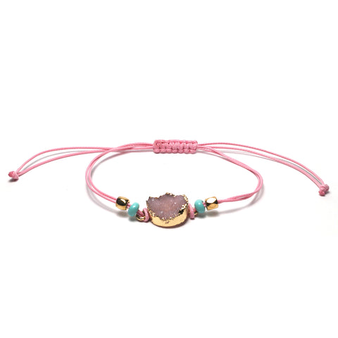 Shop Pink Adjustable Braided Bracelet-Jarvi