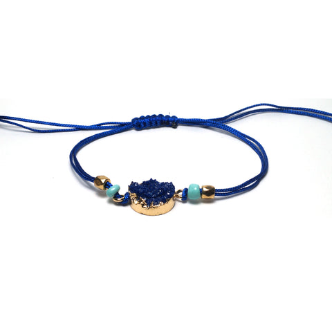 Shop Blue Adjustable Braided Bracelet-Jarvi