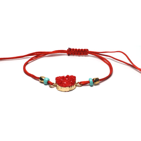 Shop Red Adjustable Braided Bracelet-Jarvi