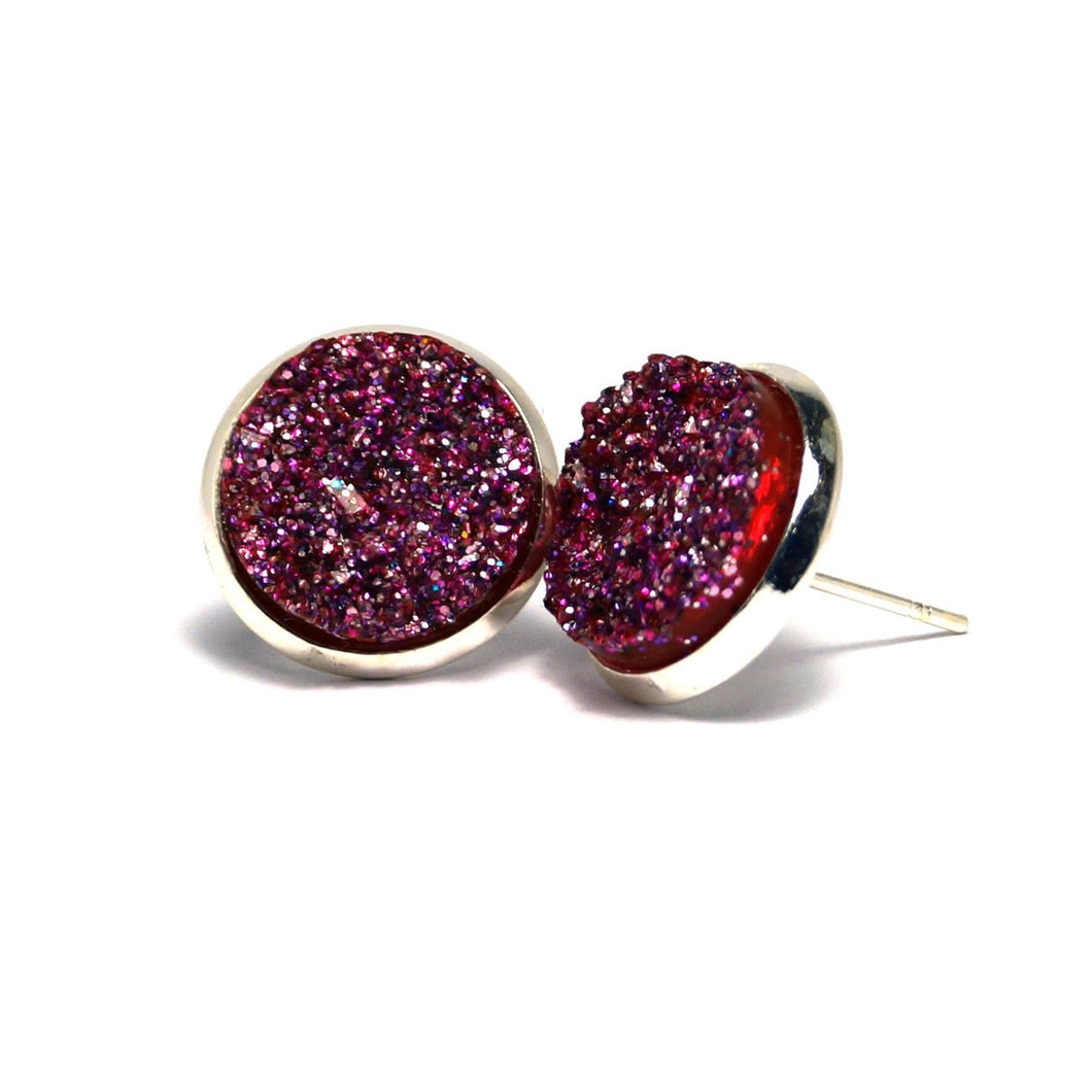 Shop Purple Druzy Silver Plated Stud Earrings (14mm)-Jarvi