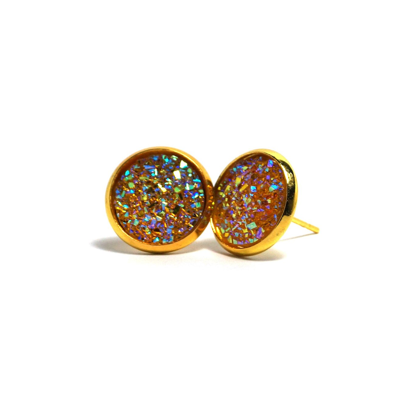 Shop Yellow Chat Druzy Stud Earrings (14mm)-Jarvi
