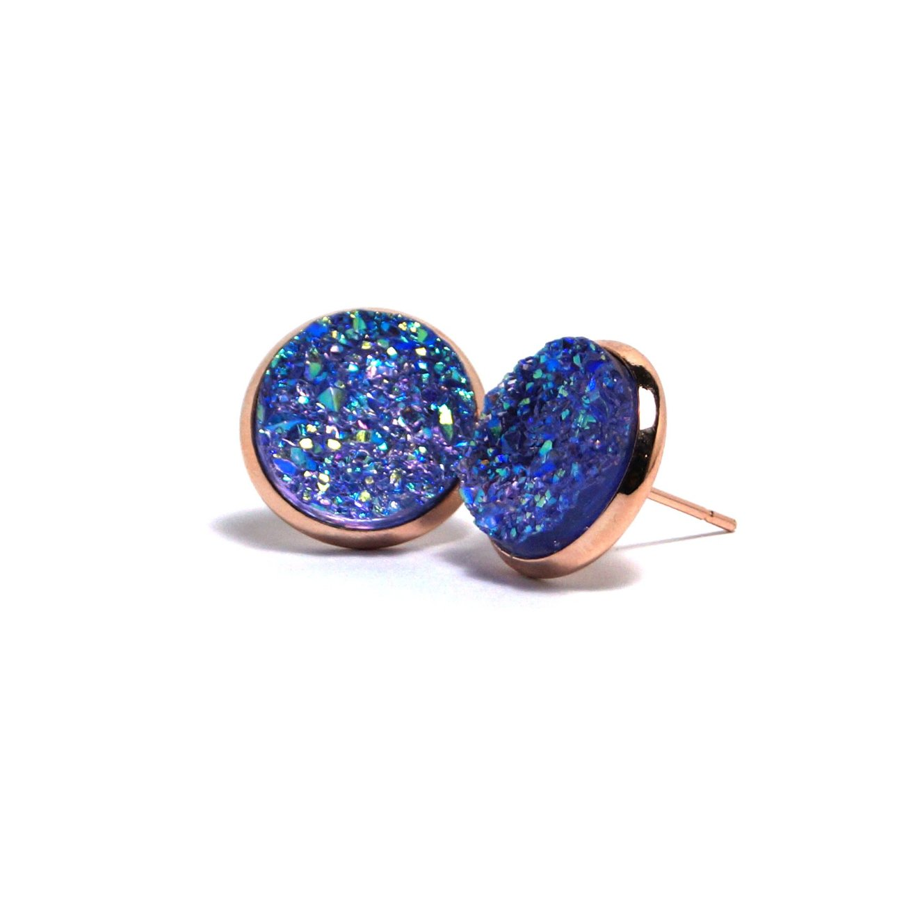 Shop Purple Spoonbill Druzy Stud Earrings (14mm)-Jarvi