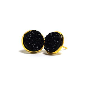 Shop Black Raven Druzy Stud Earrings (14mm)-Jarvi