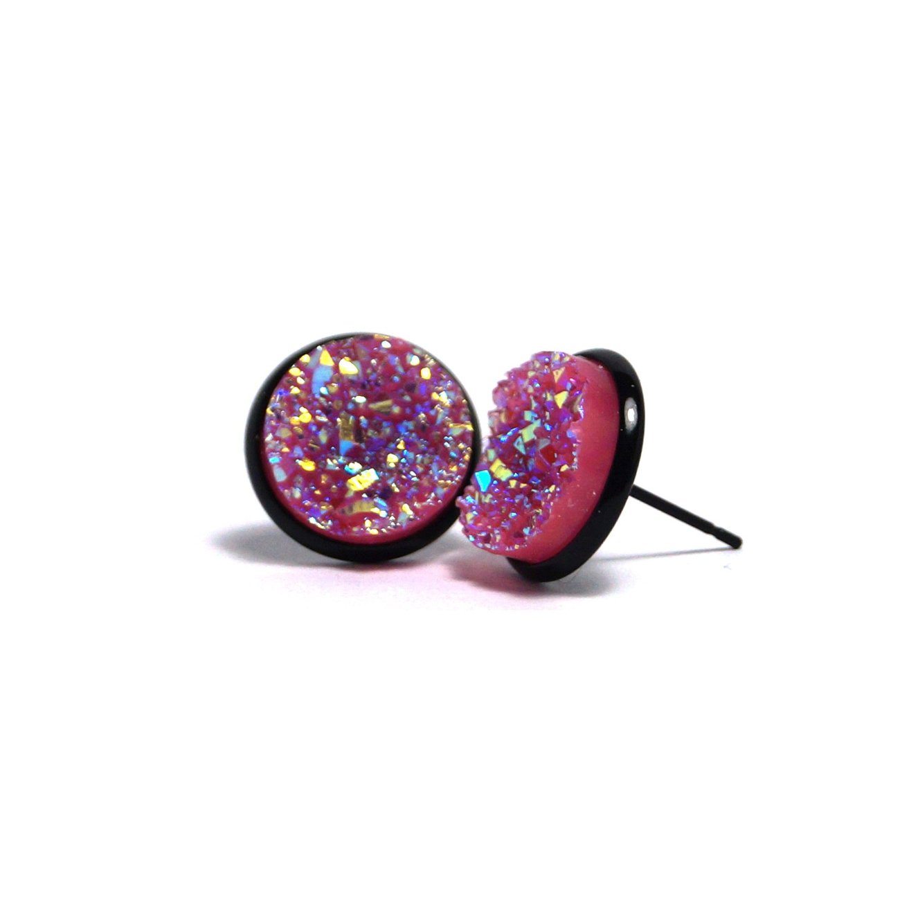 Shop Pink Flamingo Druzy Stud Earrings (14mm)-Jarvi