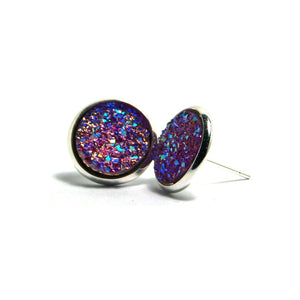 Shop Purple Gallinule Druzy Stud Earrings (14mm)-Jarvi