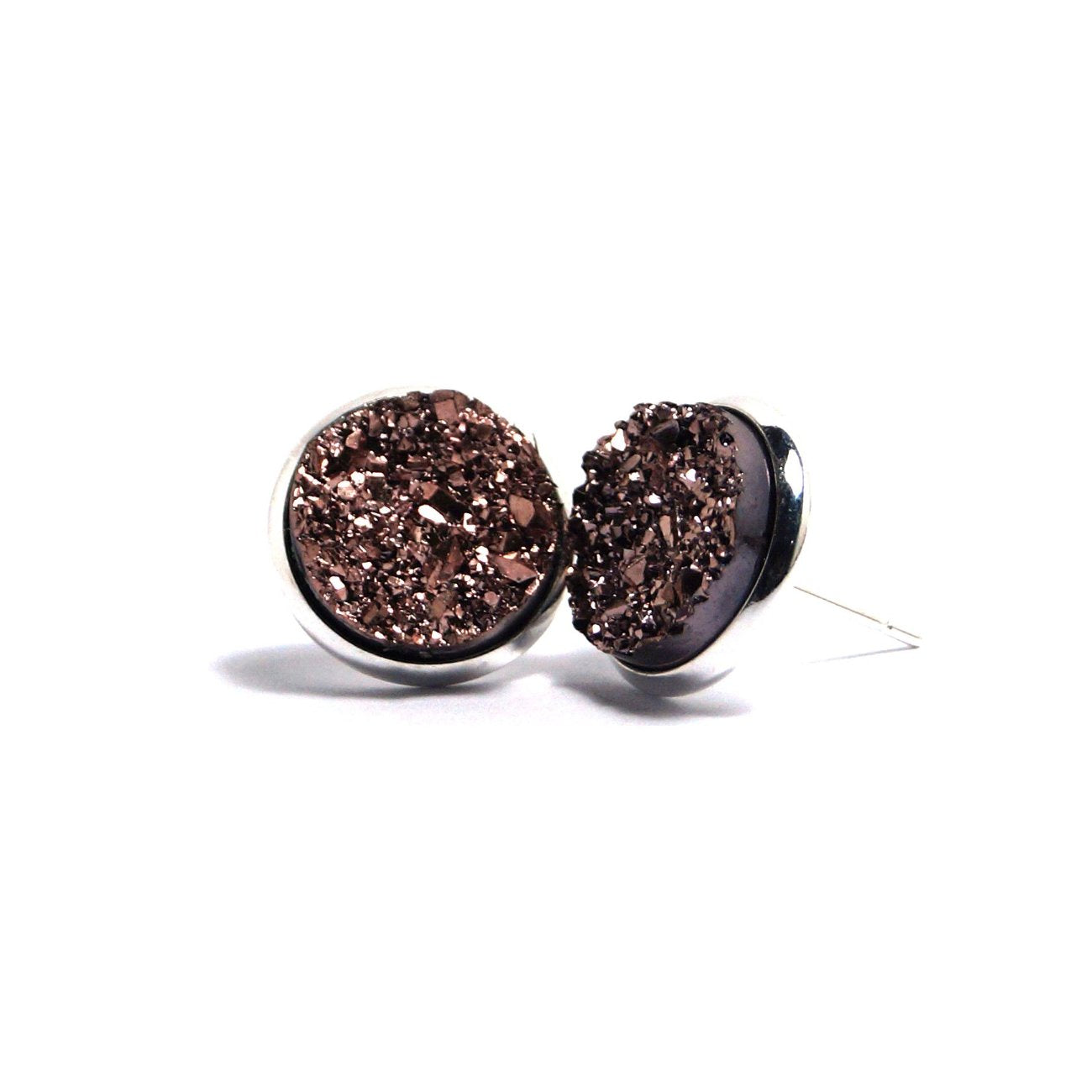 Shop Champagne Stint Druzy Stud Earrings (14mm)-Jarvi