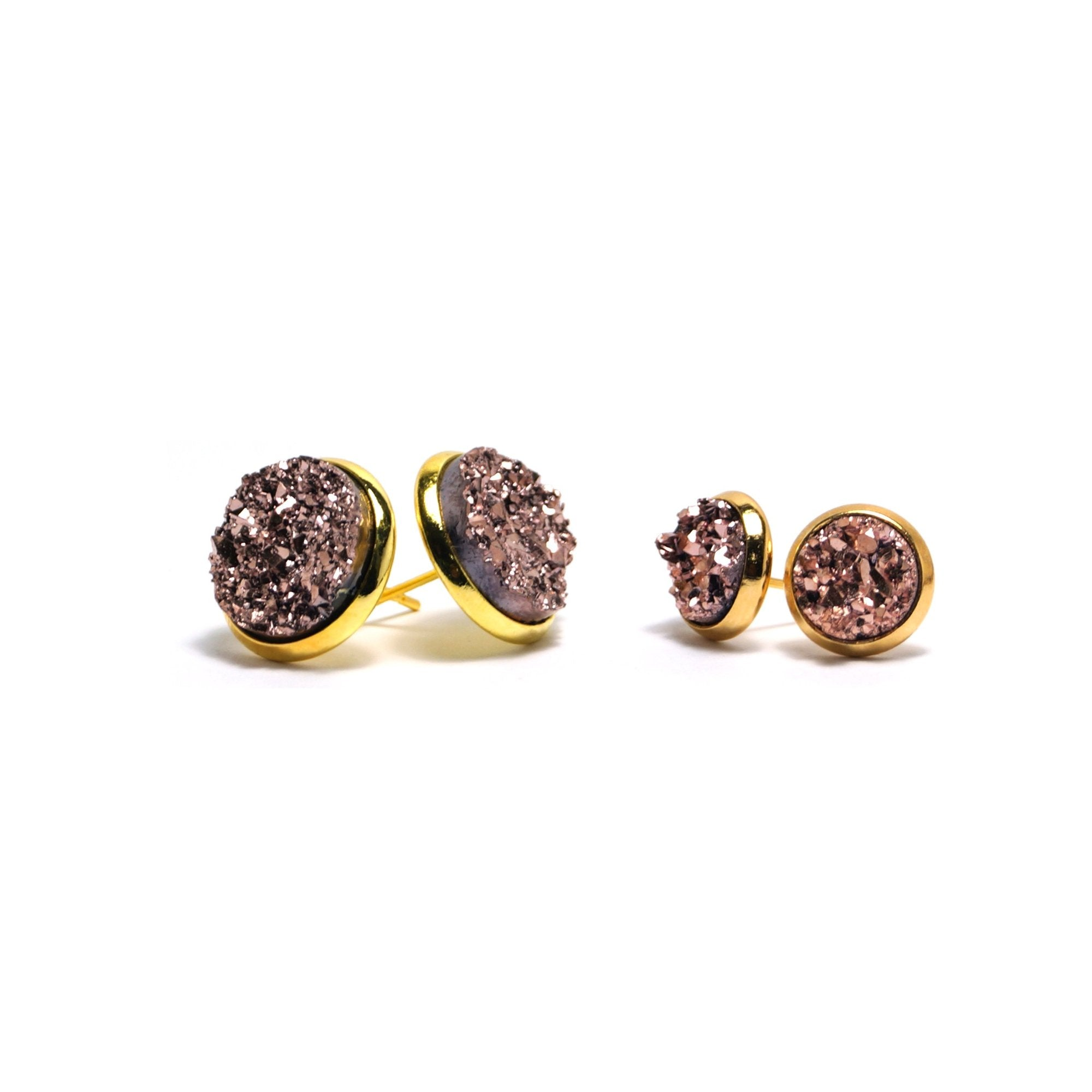 Shop Matching Set Champagne Stint Druzy Stud Earrings-Jarvi