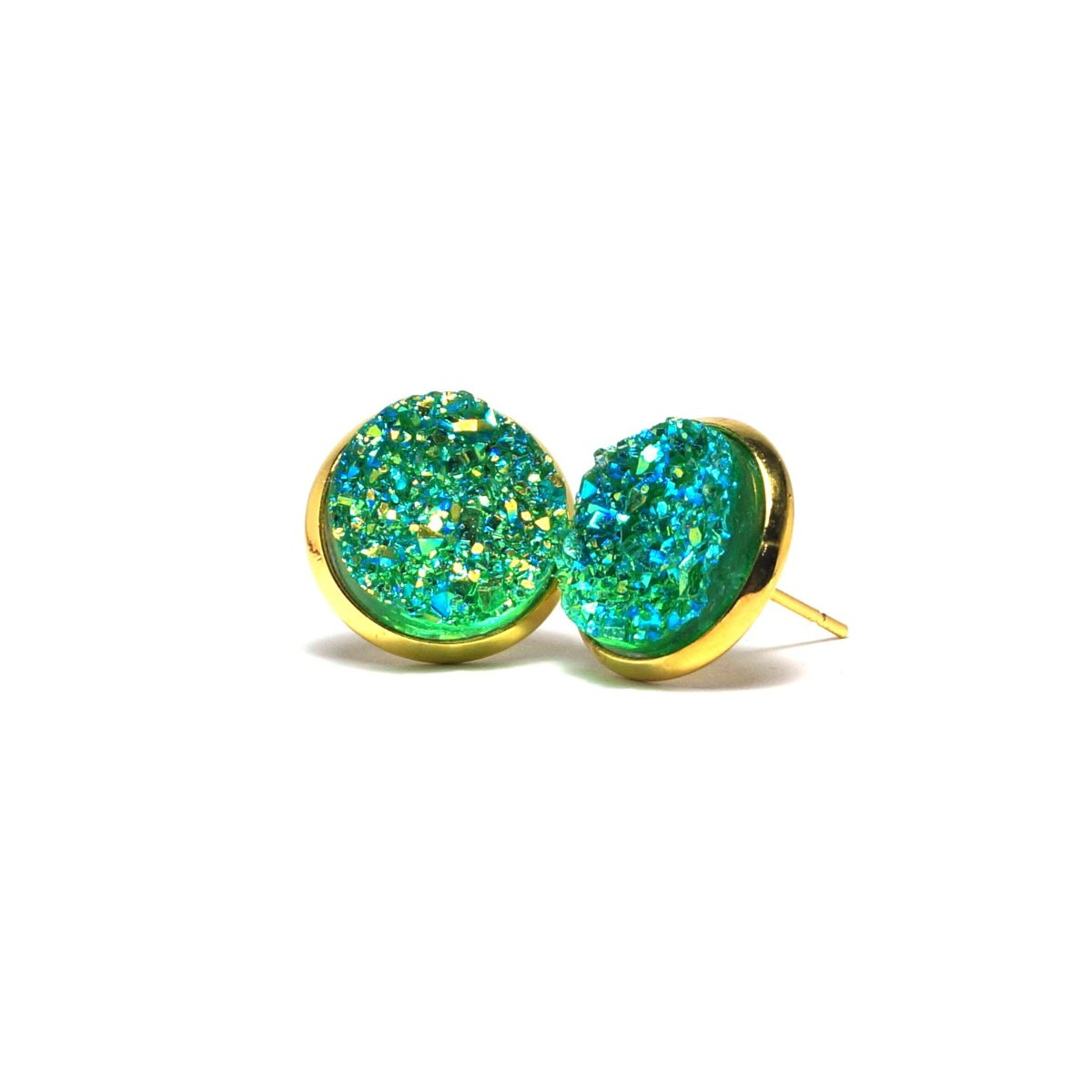 Shop Green Parakeet Druzy Stud Earrings (14mm)-Jarvi