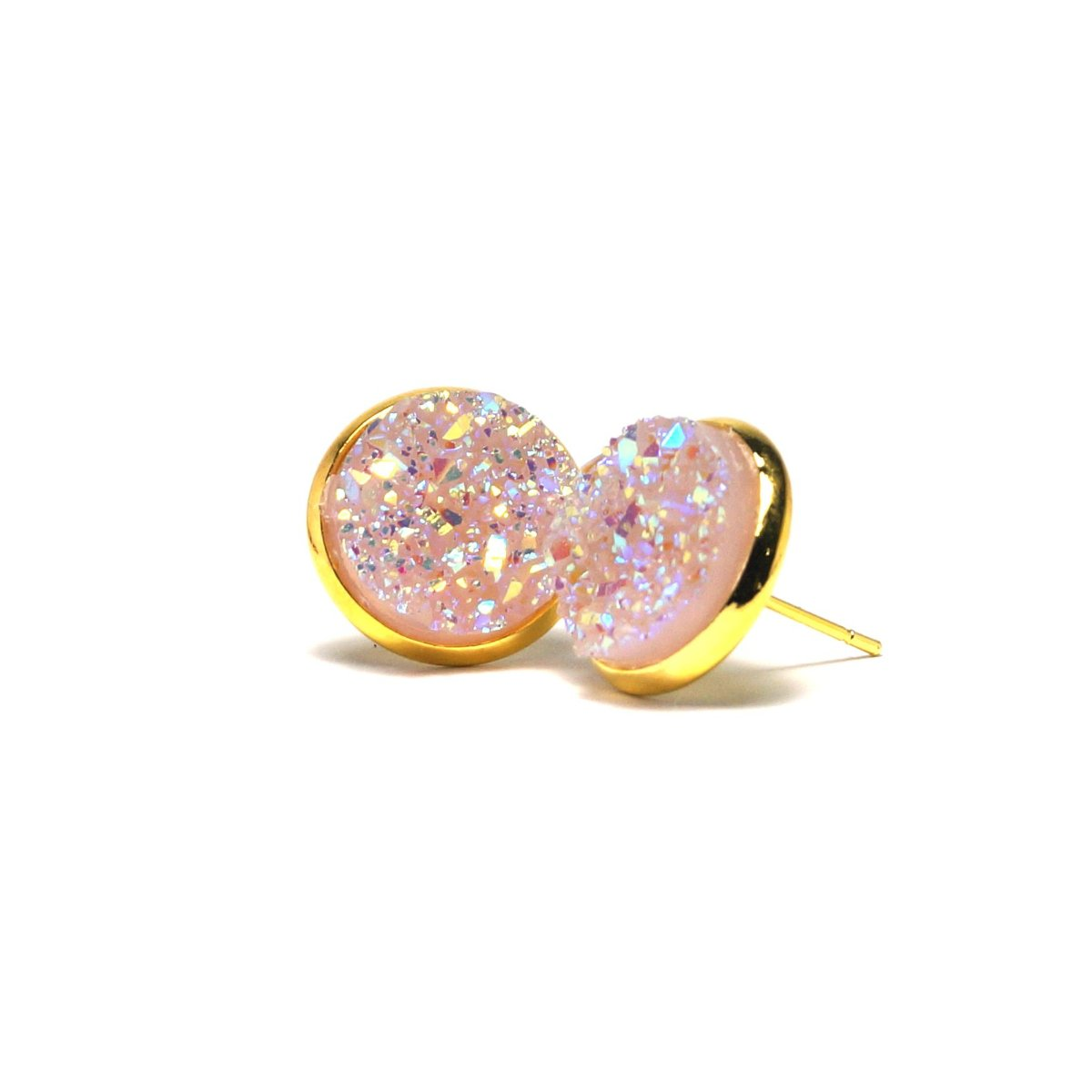 Shop Light Pink Druzy Stud Earrings (14mm)-Jarvi