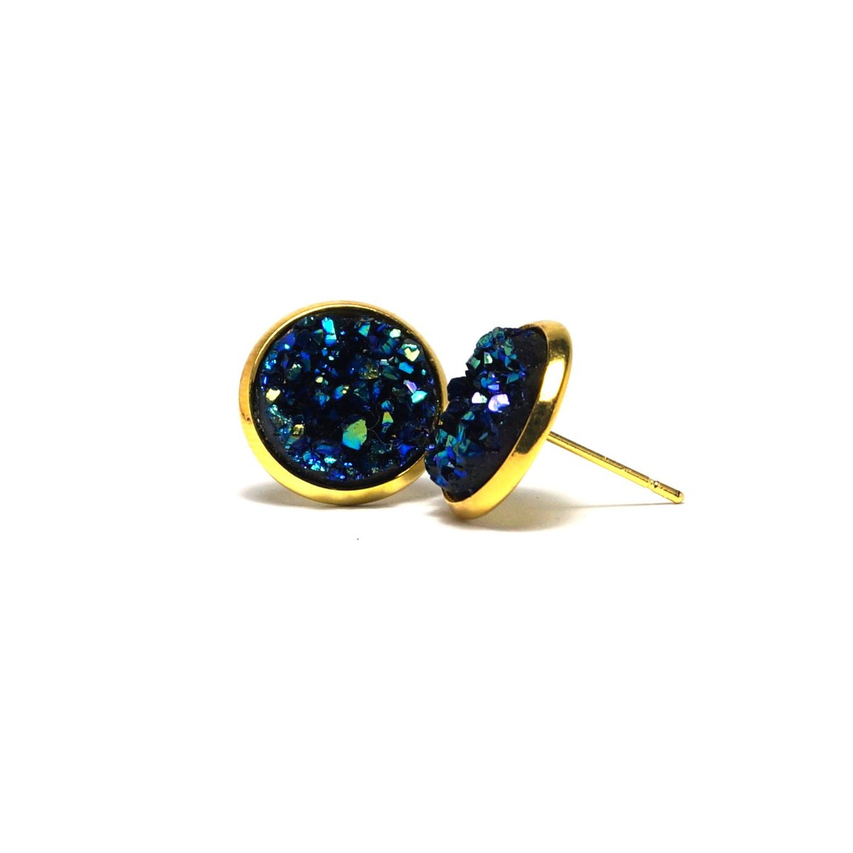 Shop Blue Bunting Druzy Stud Earrings (14mm)-Jarvi