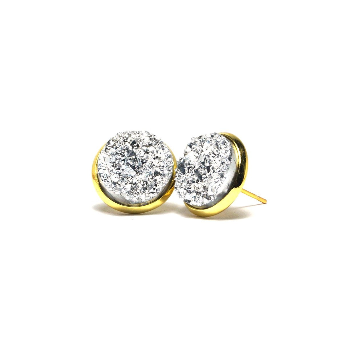 Shop Silver Kite Druzy Stud Earrings (14mm)-Jarvi