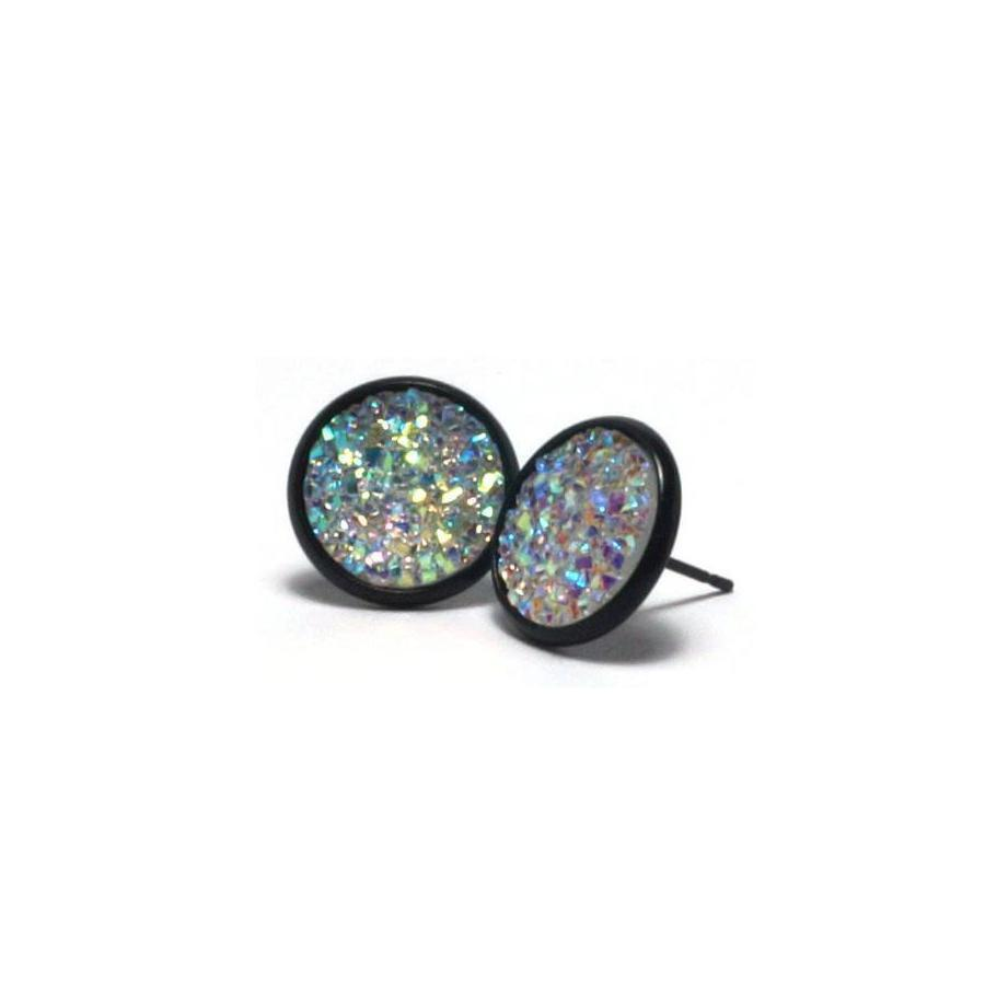 Shop White Dove Druzy Stud Earrings (14mm)-Jarvi