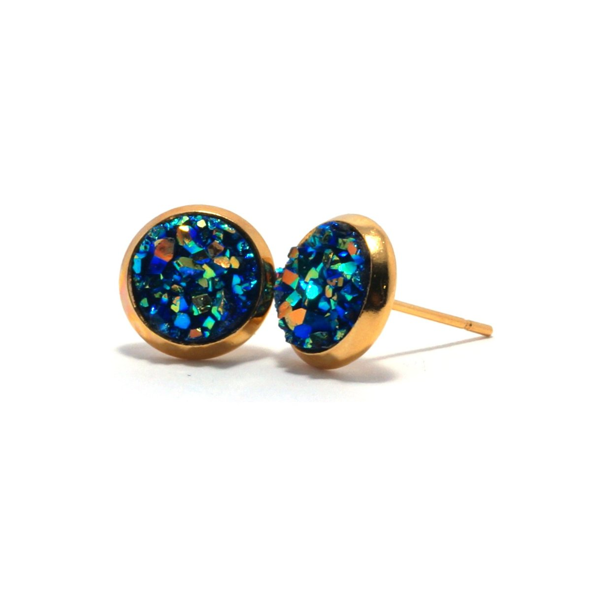 Shop Blue Chick Bunting Druzy Stud Earrings (10mm)-Jarvi
