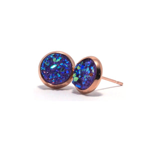 Shop Purple Chick Spoonbill Druzy Stud Earrings (10mm)-Jarvi