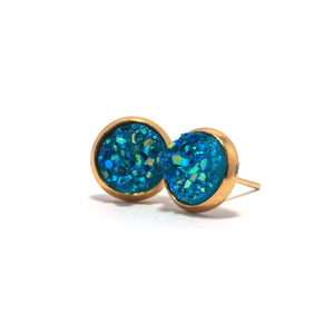 Shop Turquoise Chick Pigeon Druzy Stud Earrings (10mm)-Jarvi