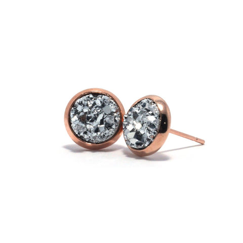 Shop Silver Chick Kite Druzy Stud Earrings (10mm)-Jarvi