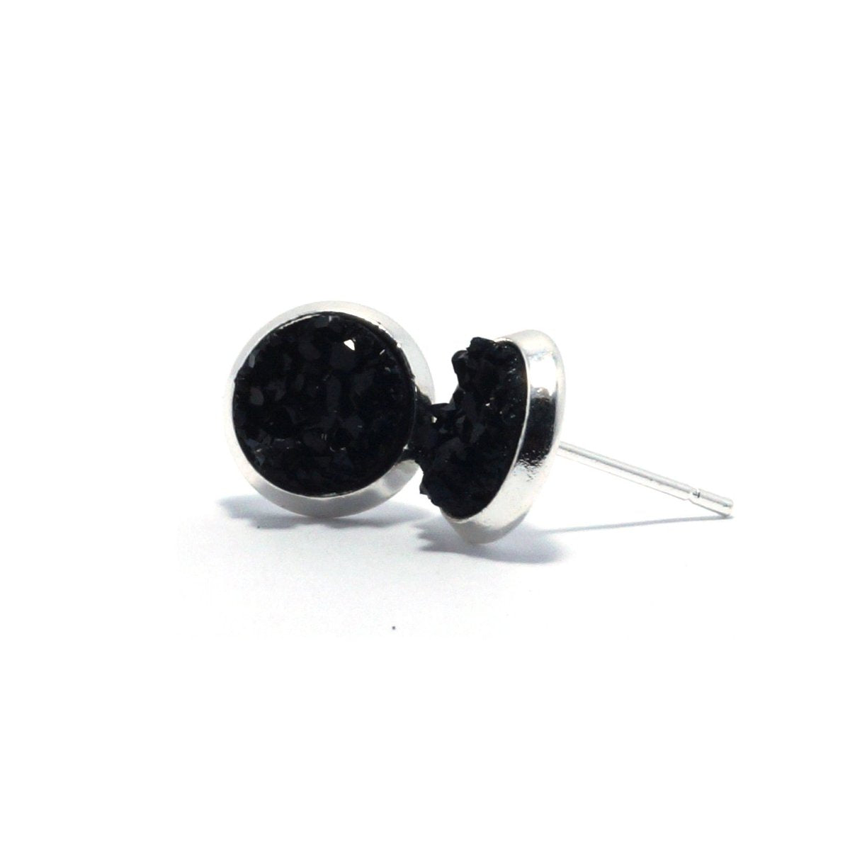 Shop Black Chick Raven Druzy Stud Earrings (10mm)-Jarvi