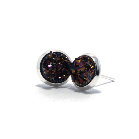 Shop Purple Chick Ibis Druzy Stud Earrings (10mm)-Jarvi