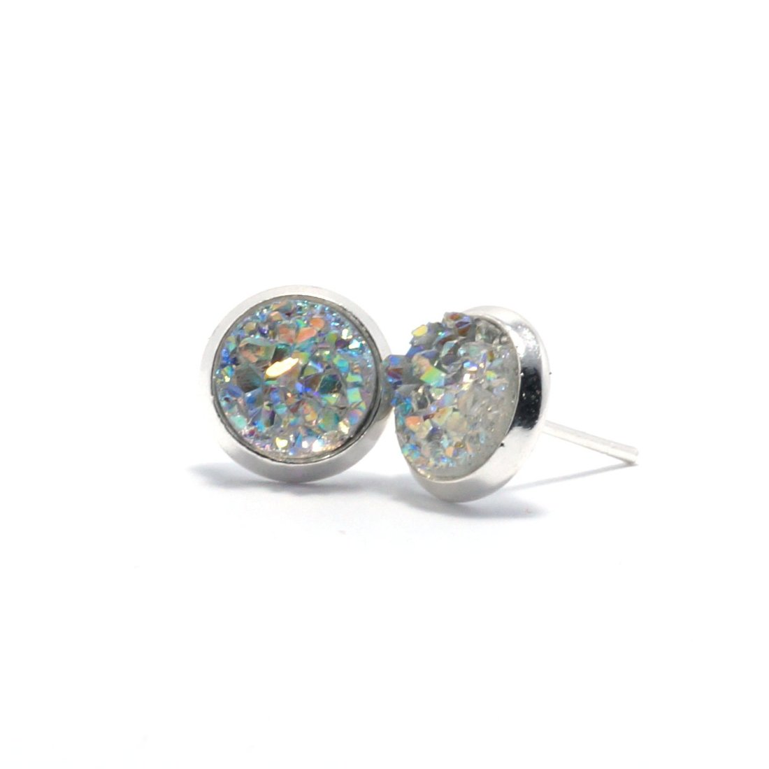 Shop Clear Chick Cockatoo Druzy Stud Earrings (10mm)-Jarvi