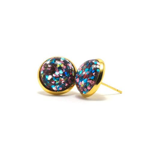 Shop Colorful Glitter Stud Earrings (14mm)-Jarvi