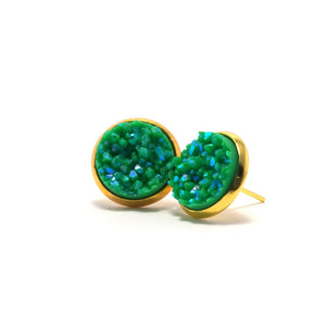 Shop Green Broadbill Druzy Stud Earrings (14mm)-Jarvi