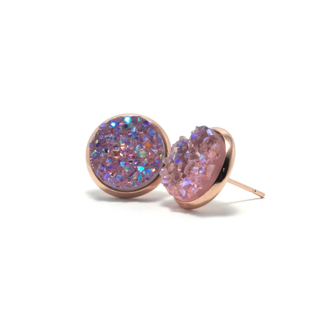 Shop Pink Galah Druzy Stud Earrings (14mm)-Jarvi