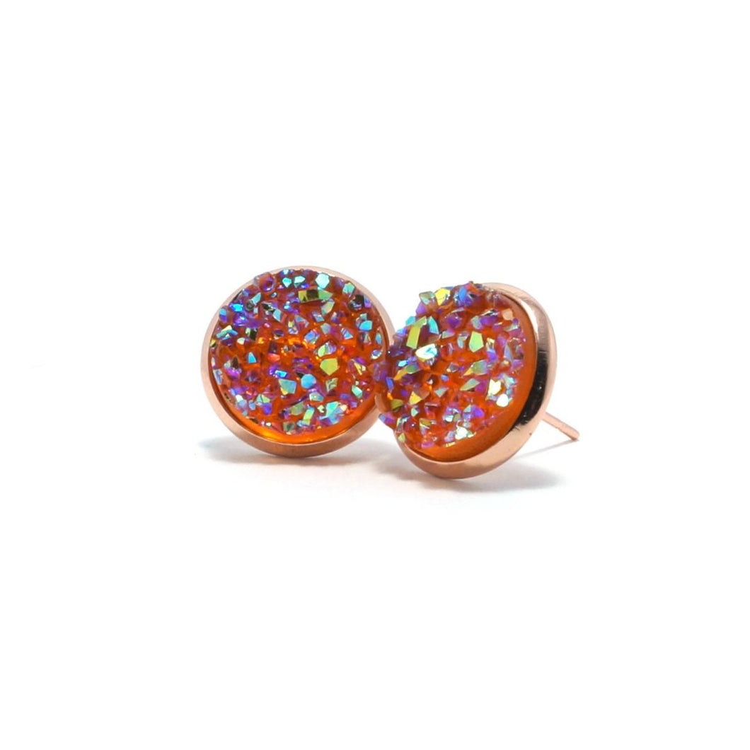 Shop Orange Oriole Druzy Stud Earrings (14mm)-Jarvi