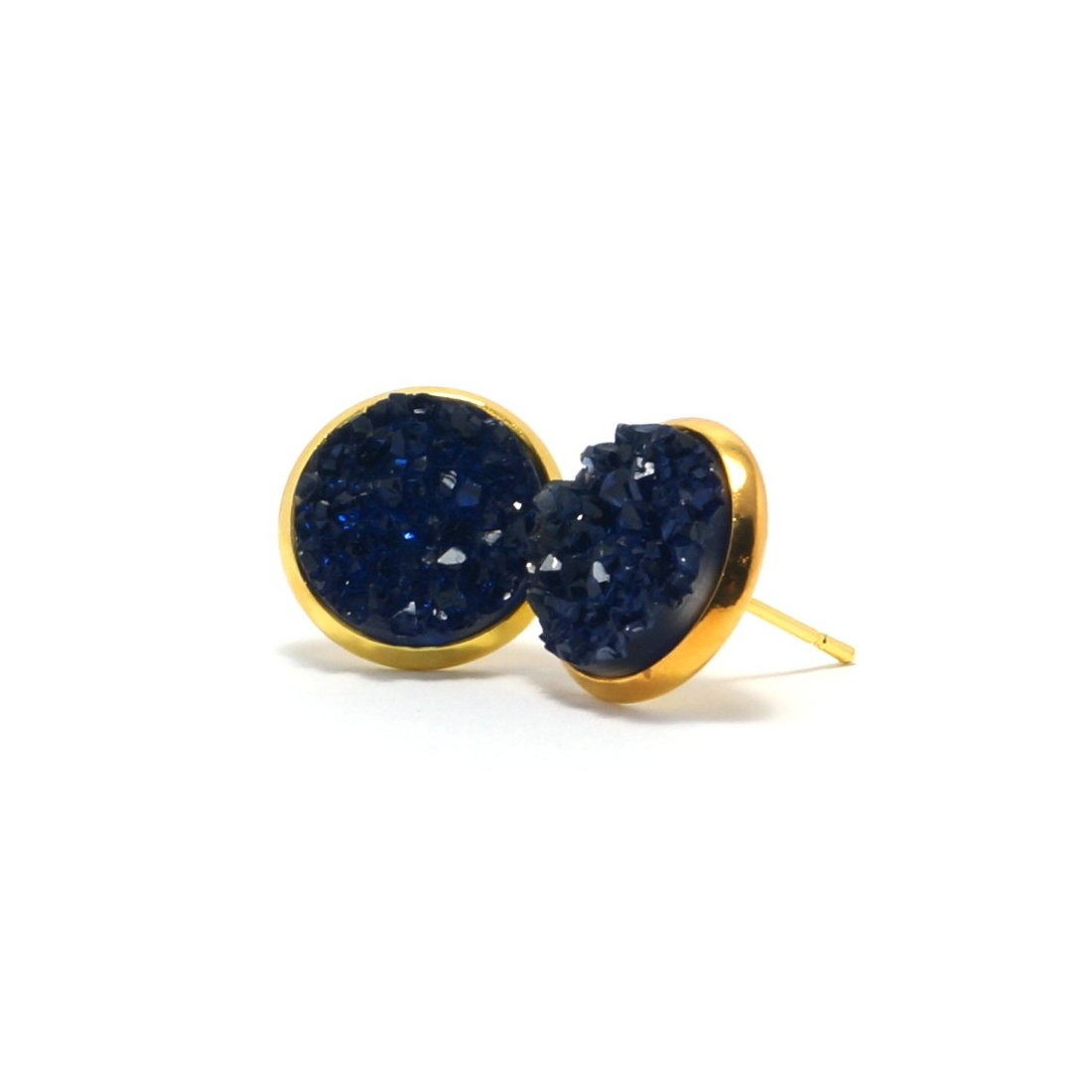 Shop Blue Parula Druzy Stud Earrings (14mm)-Jarvi