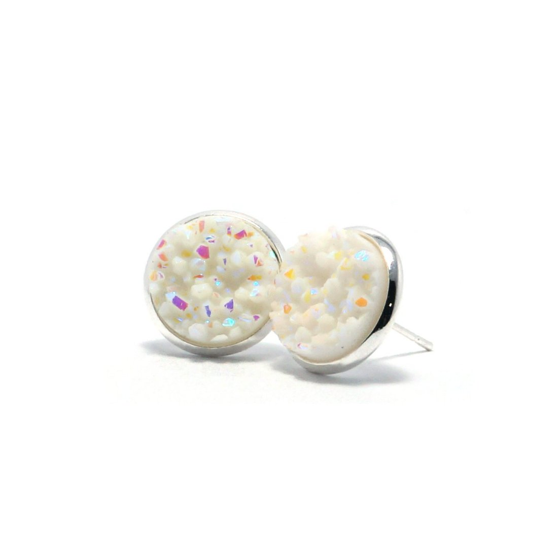 Shop White Swan Druzy Stud Earrings (14mm)-Jarvi
