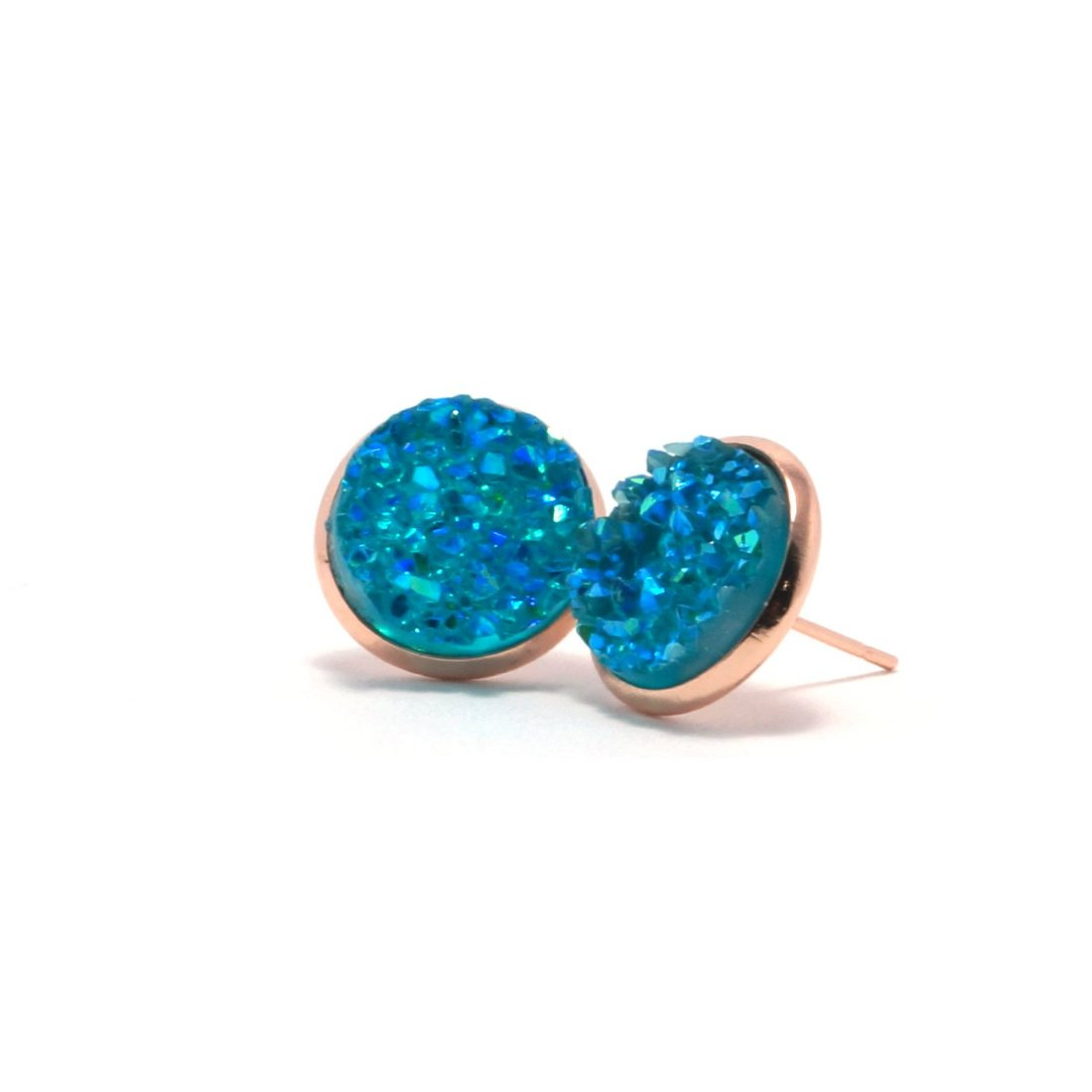 Shop Turquoise Pigeon Druzy Stud Earrings (14mm)-Jarvi